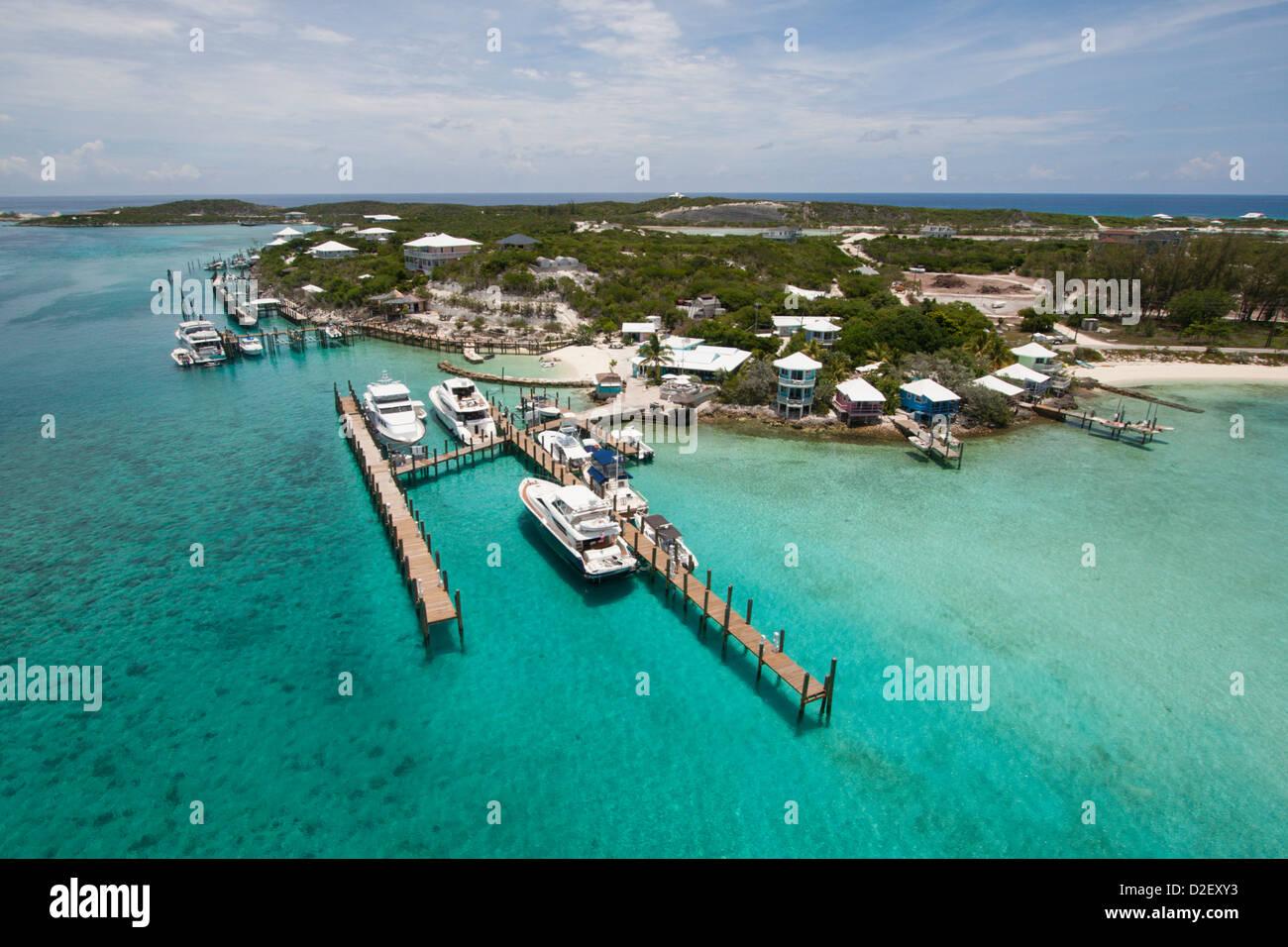 Staniel Cay, Exumas, Bahamas, from the air Stock Photo
