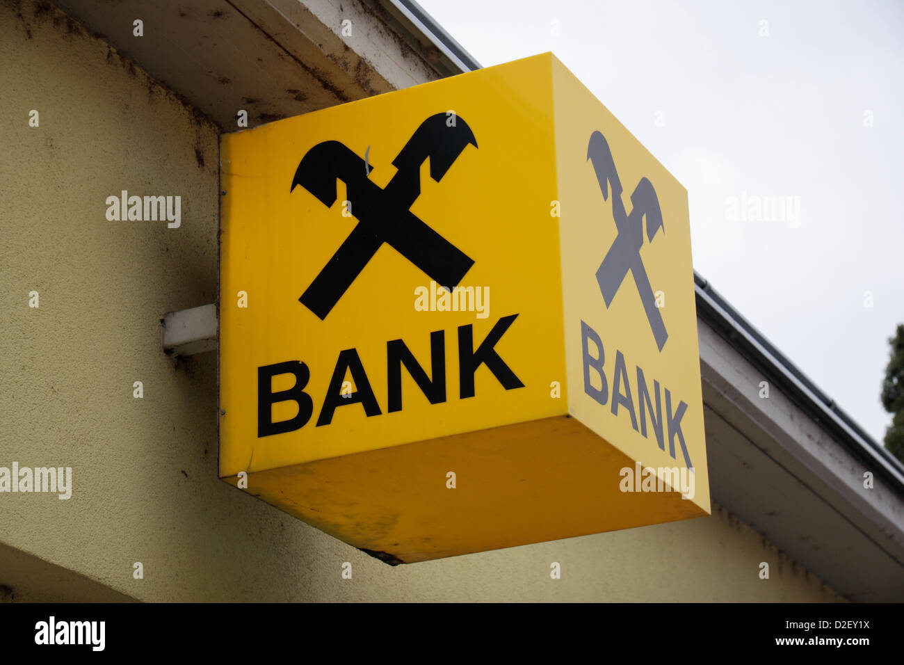 Brand logo sign for the Austrian bank Raiffeisen Bank outside a branch in Trausdorf, near Vienna, Austria. - Stock Image