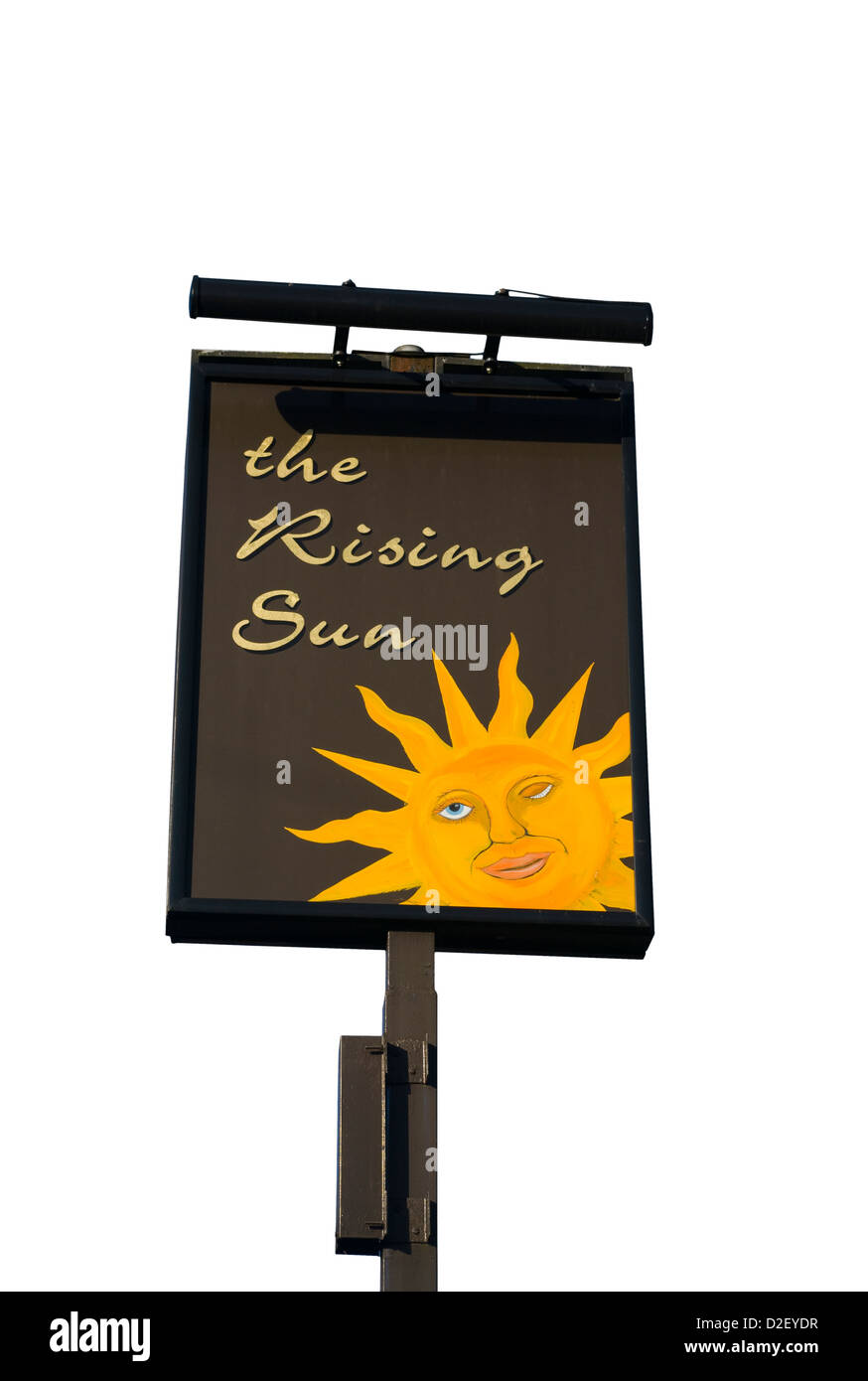 The Rising Sun Public House Sign uk - Stock Image
