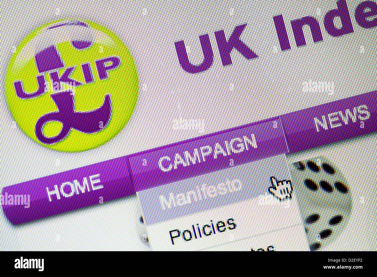 UKIP logo and website close up - Stock Image