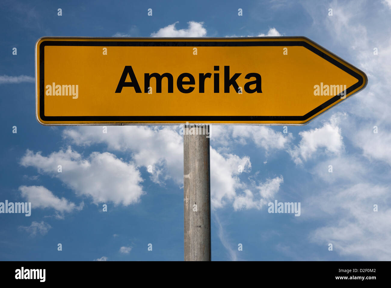 A signpost shows directory Amerika (America). America is the smallest locality of Penig, Saxony, Germany, Europe - Stock Image