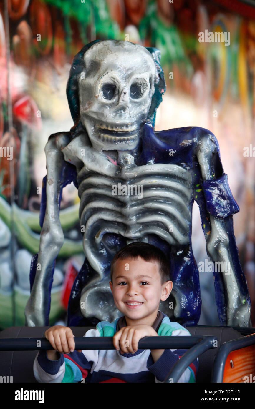 6-year-old boy at a fun fair Paris. France. - Stock Image