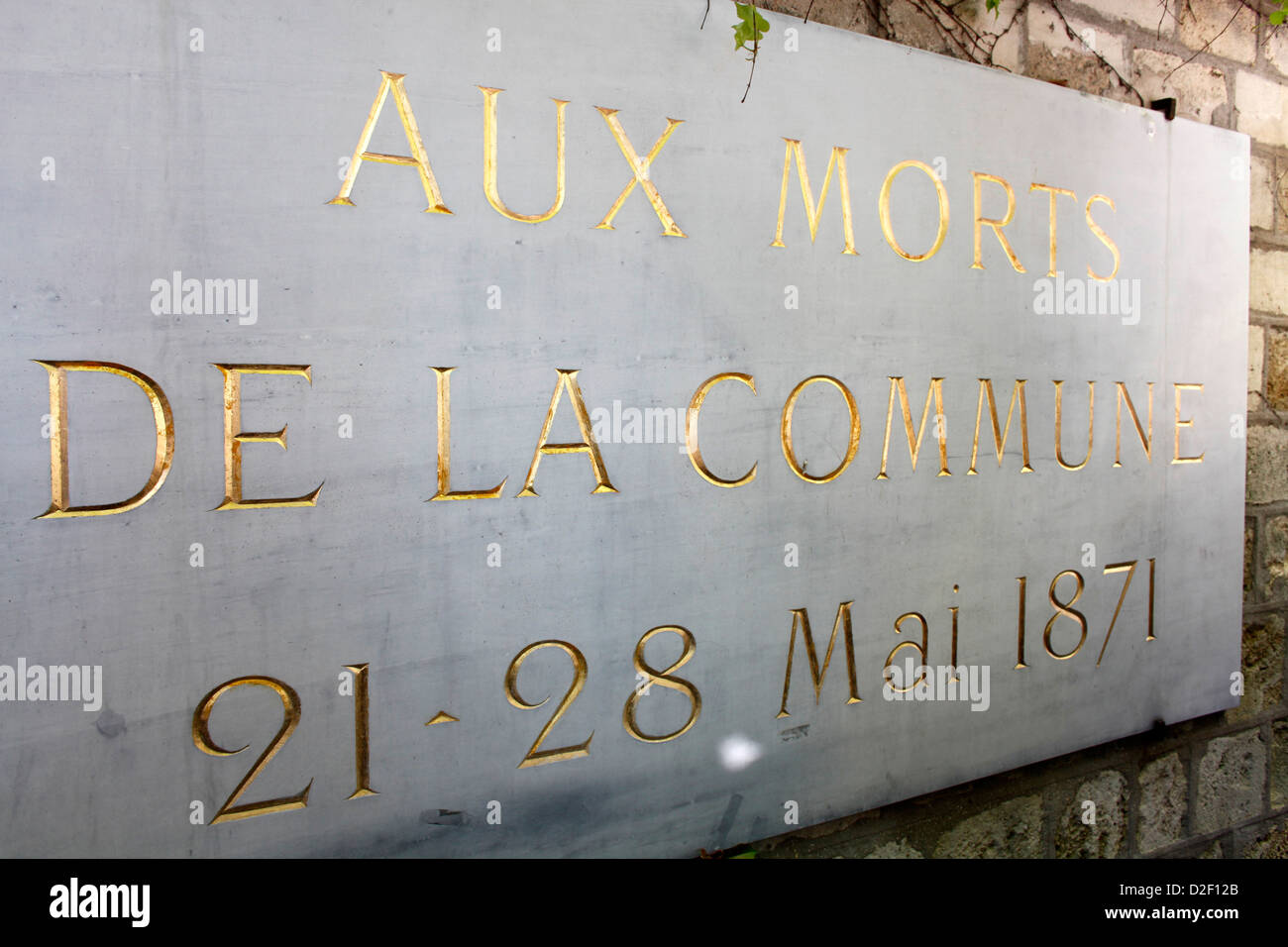 Mur des Federes in the Pere Lachaise cemetery (commemorating the victims of the 1871 Paris Commune) Paris. France. - Stock Image