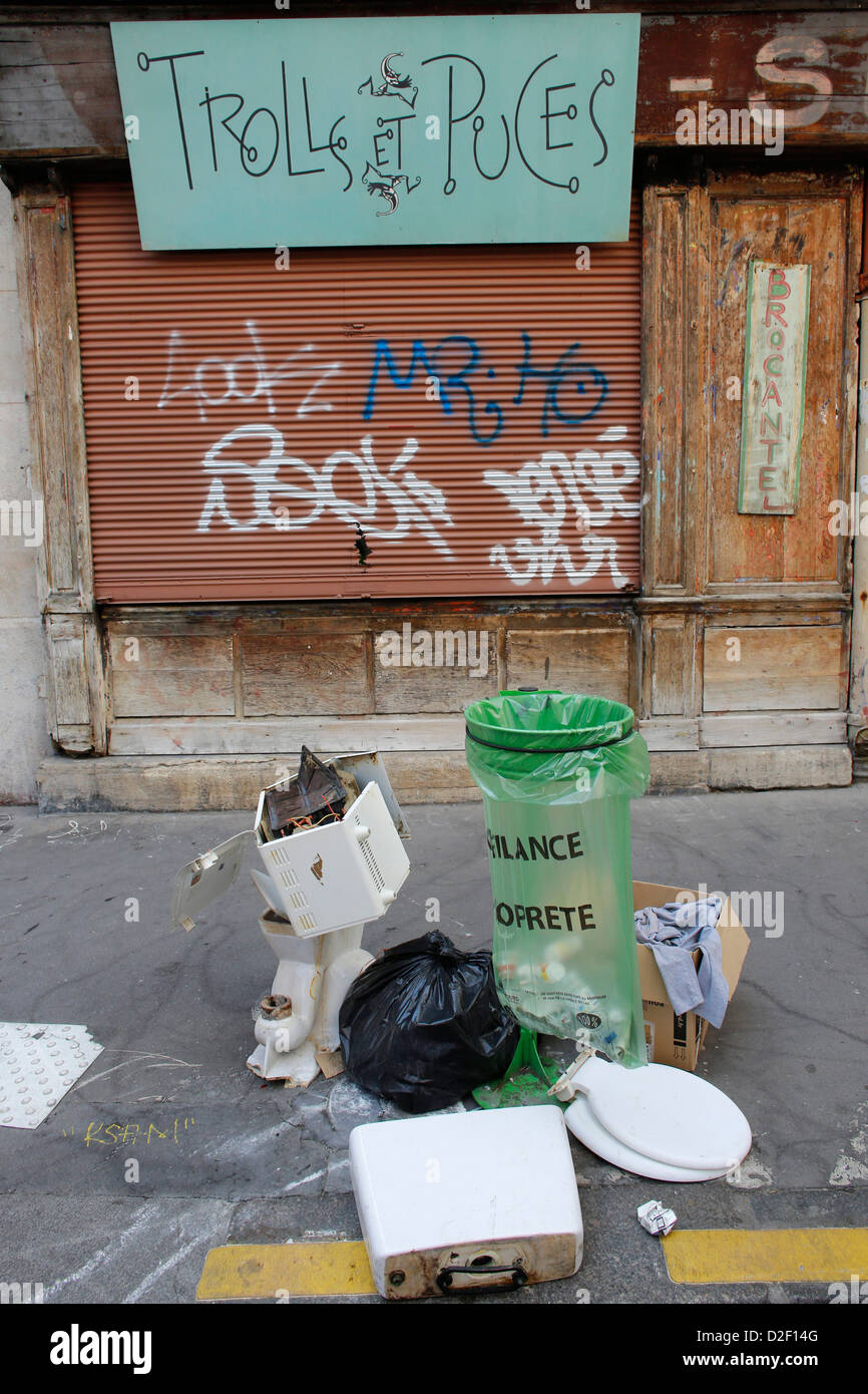 Closed shop and junk Paris. France. - Stock Image