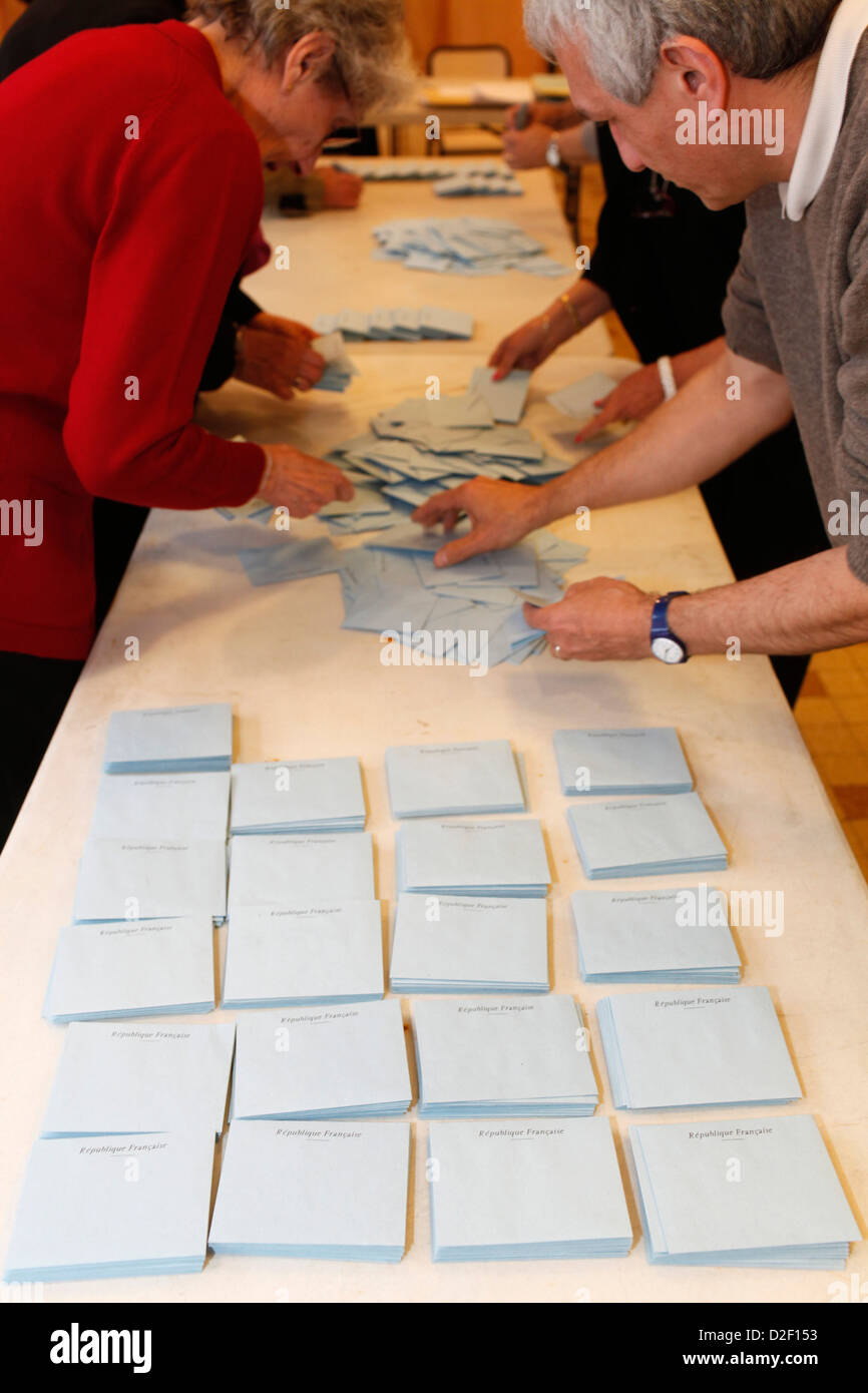 French presidential election - counting of votes Montrouge. France. - Stock Image