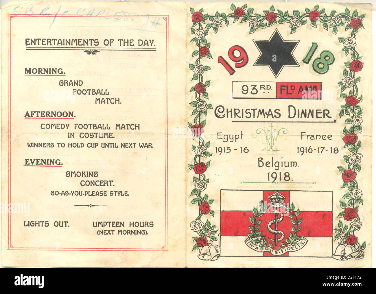 World War One Christmas Day Menus for 93rd Field Ambulance Stock ...
