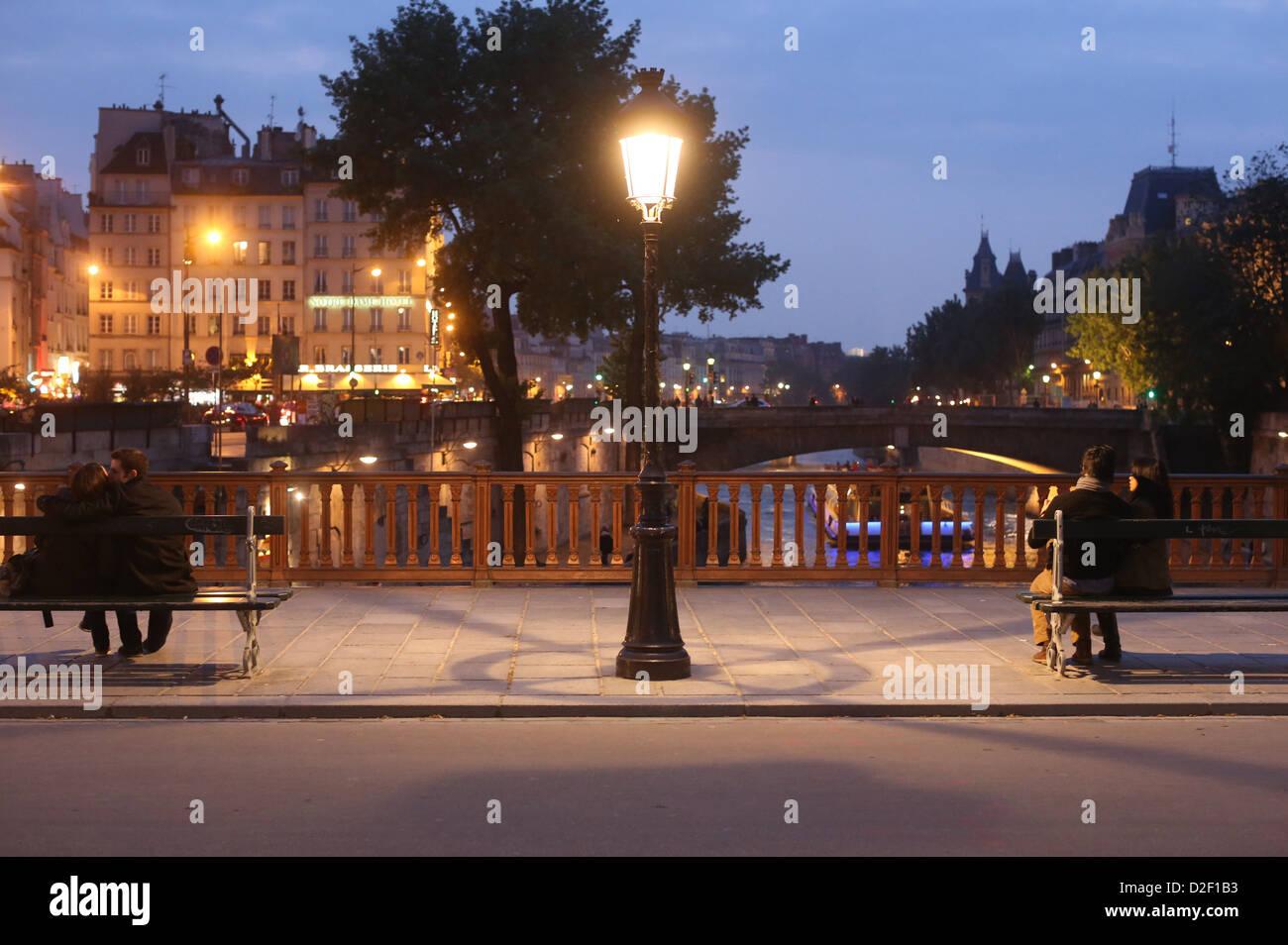 Pont au Double at night. Paris. France. - Stock Image