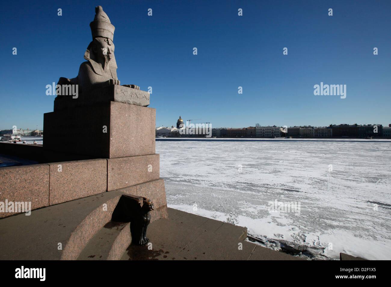 Sphinx statue on bank of Neva river. Saint Petersburg. Russia. - Stock Image