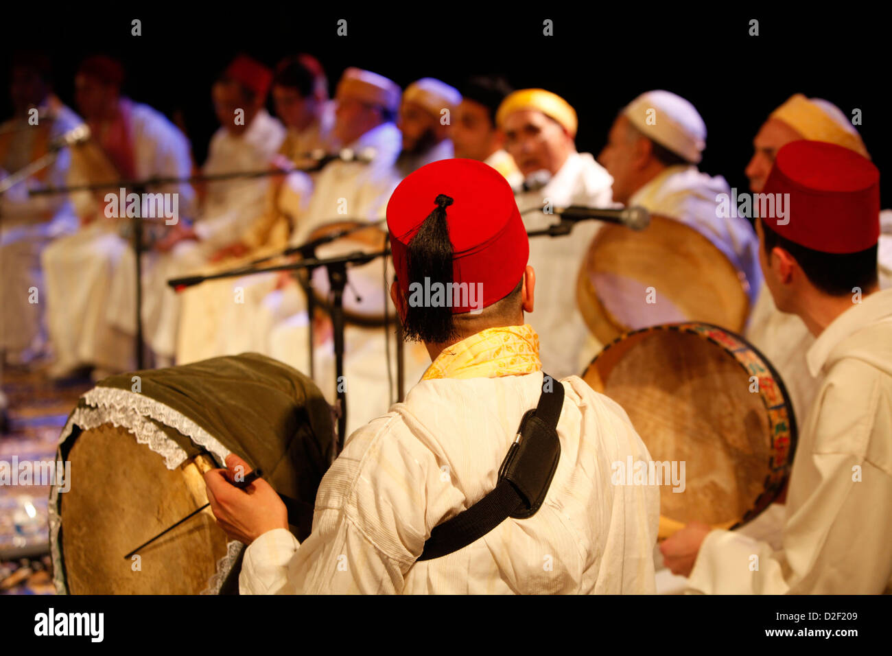 Morrocan Sufi musicians Paris. France. - Stock Image