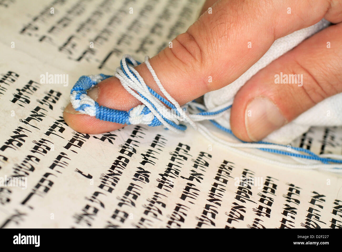 Reading the Torah in a synagogue. Paris. France. - Stock Image