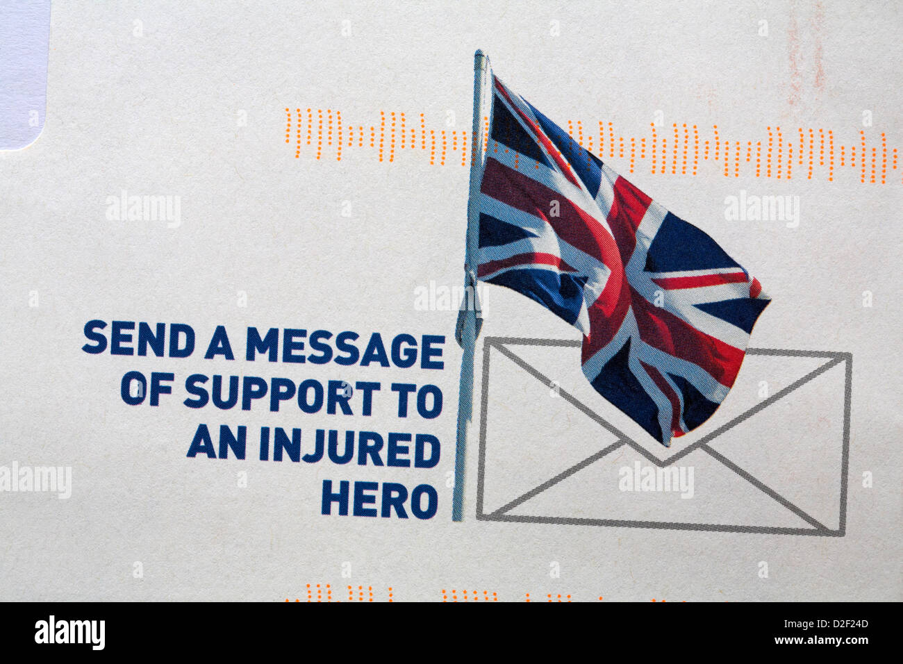 send a message of support to an injured hero information on The Royal British Legion envelope - Stock Image