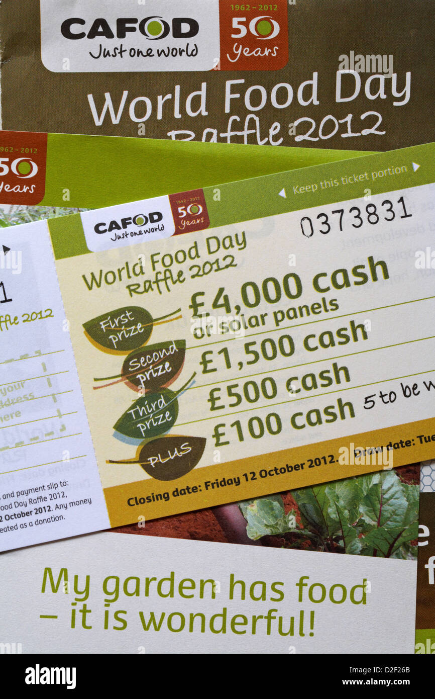 Cafod Just One World World food day raffle - Stock Image