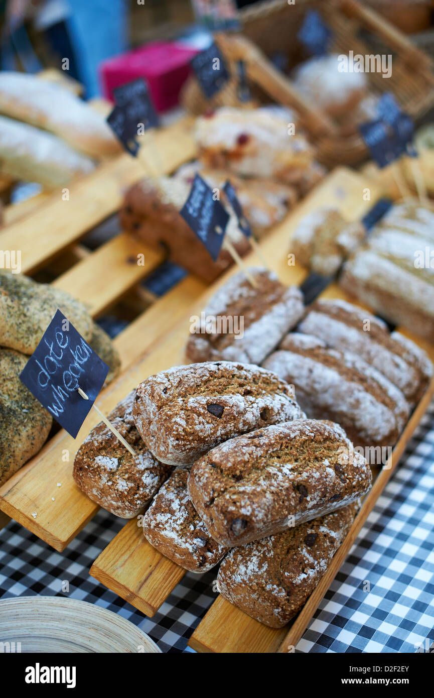 Fresh home made Date and Wheaten bread at St Georges indoor farmers market, Belfast Northern Ireland - Stock Image