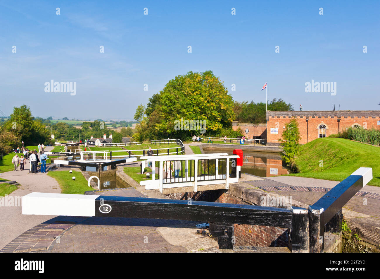 Historic Flight of locks at Foxton locks on the grand union canal Leicestershire England UK GB EU Europe - Stock Image