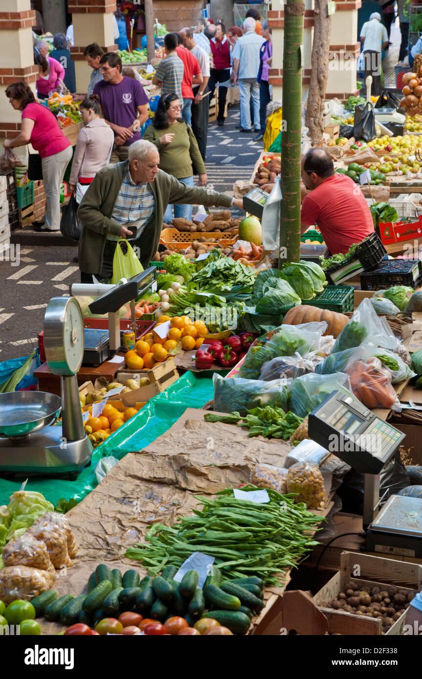 Mercado dos Lavradores the covered market for producers of island fruit Funchal Madeira Portugal EU Europe - Stock Image