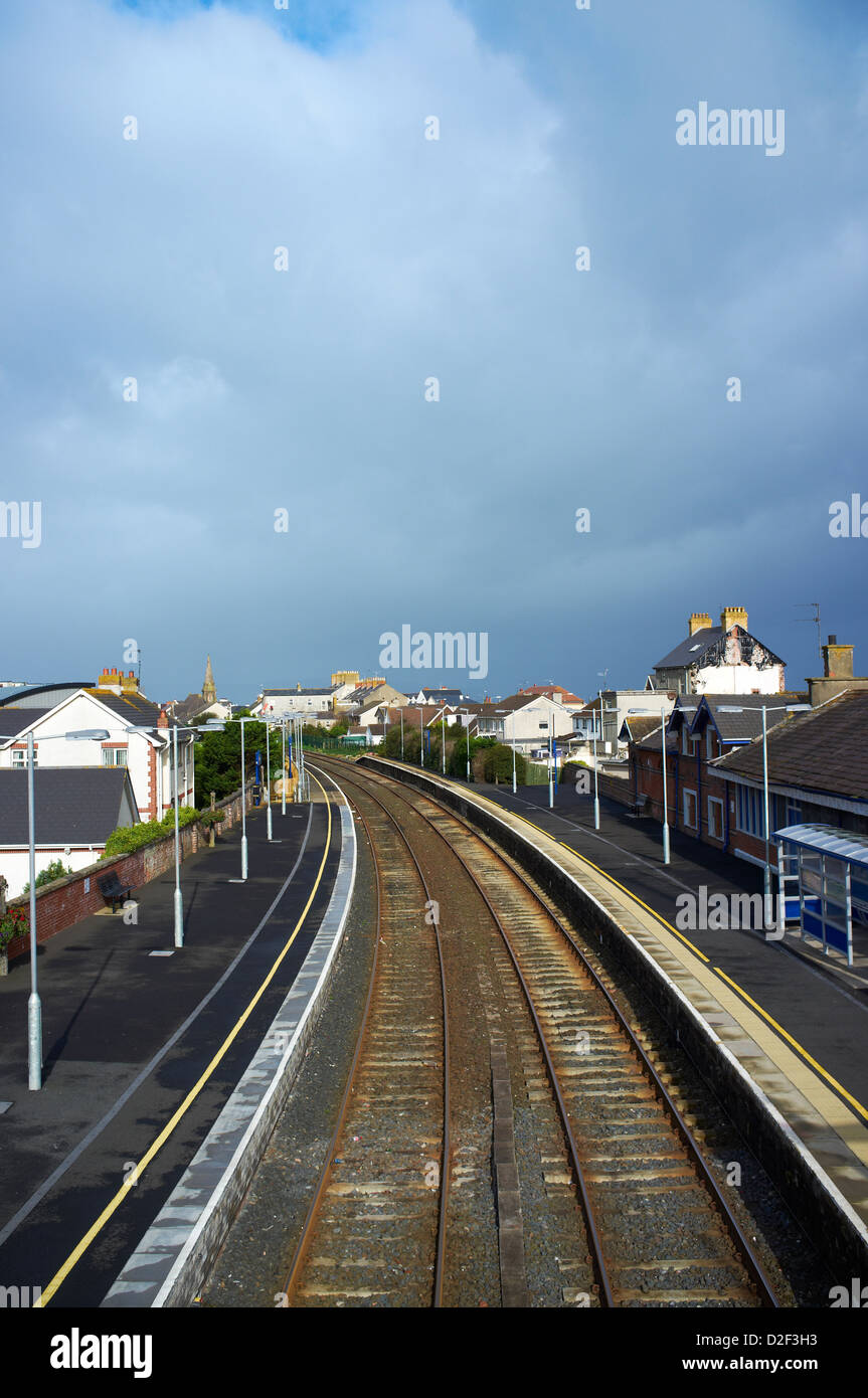 Castlerock train station with empty platforms County Londonderry Northern Ireland - Stock Image
