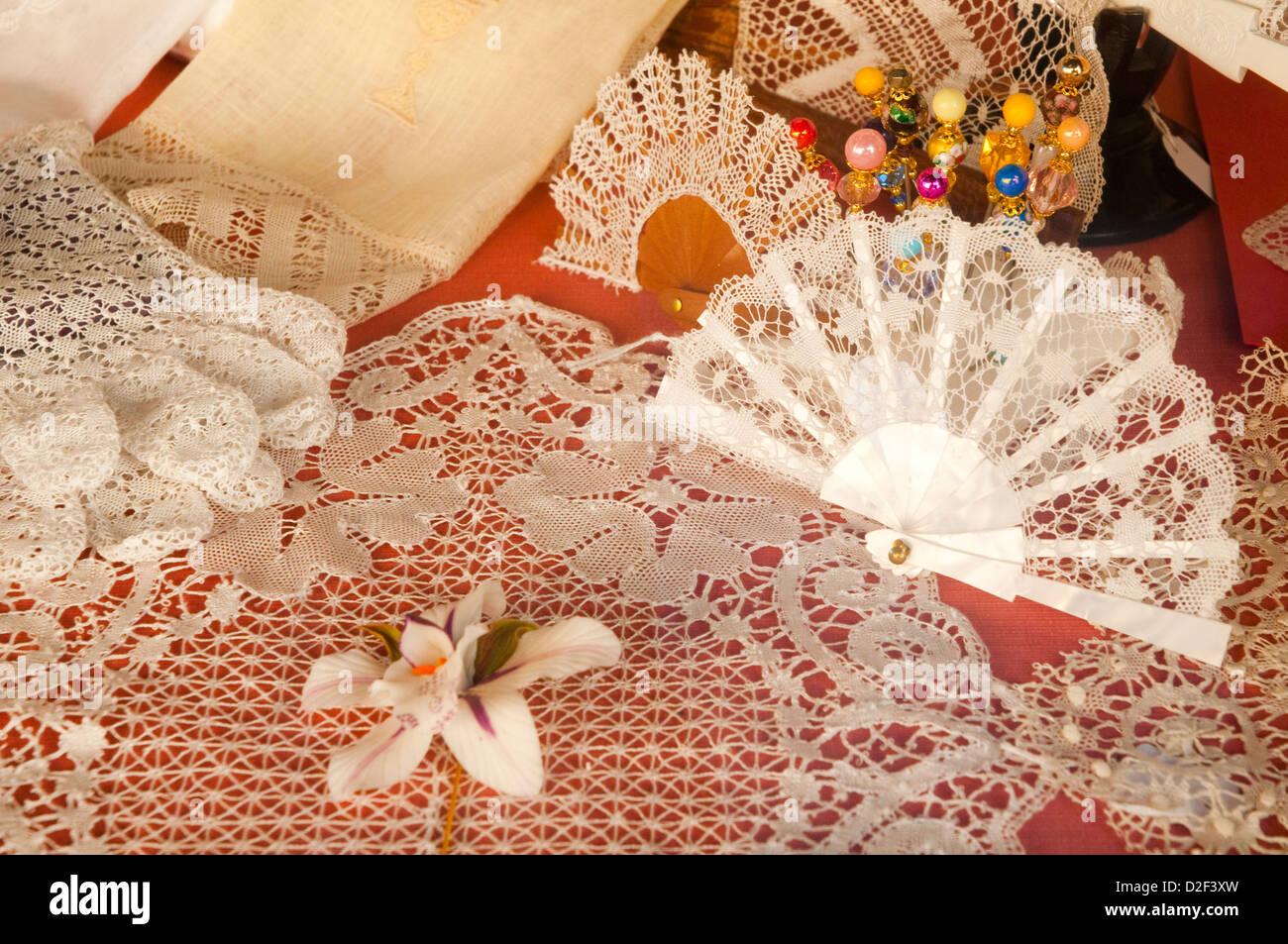 Bobbin lace. Almagro, Ciudad Real province, Castilla La Mancha, Spain. - Stock Image