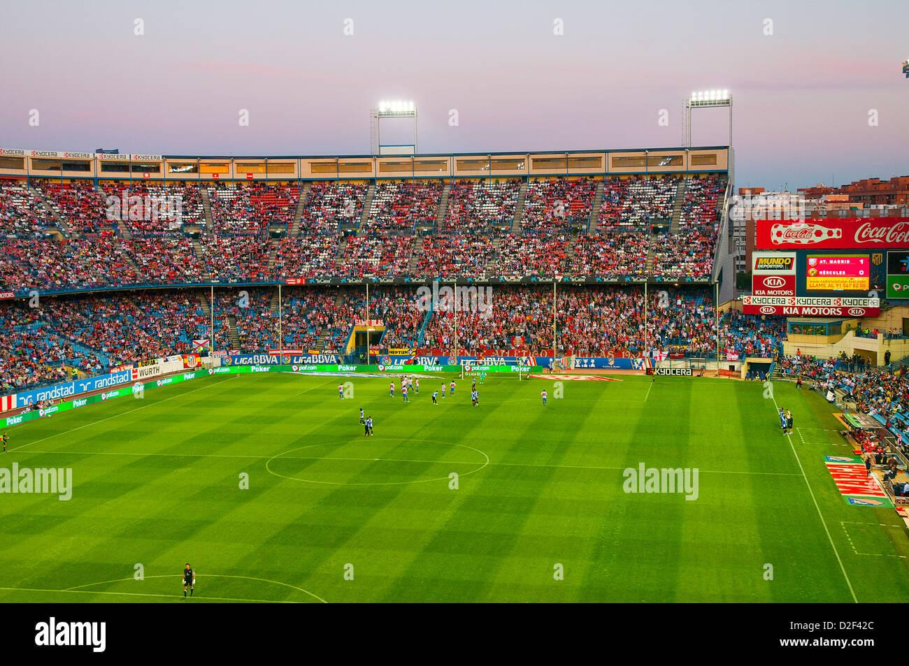 Football match in Vicente Calderon stadium. Madrid, Spain. - Stock Image