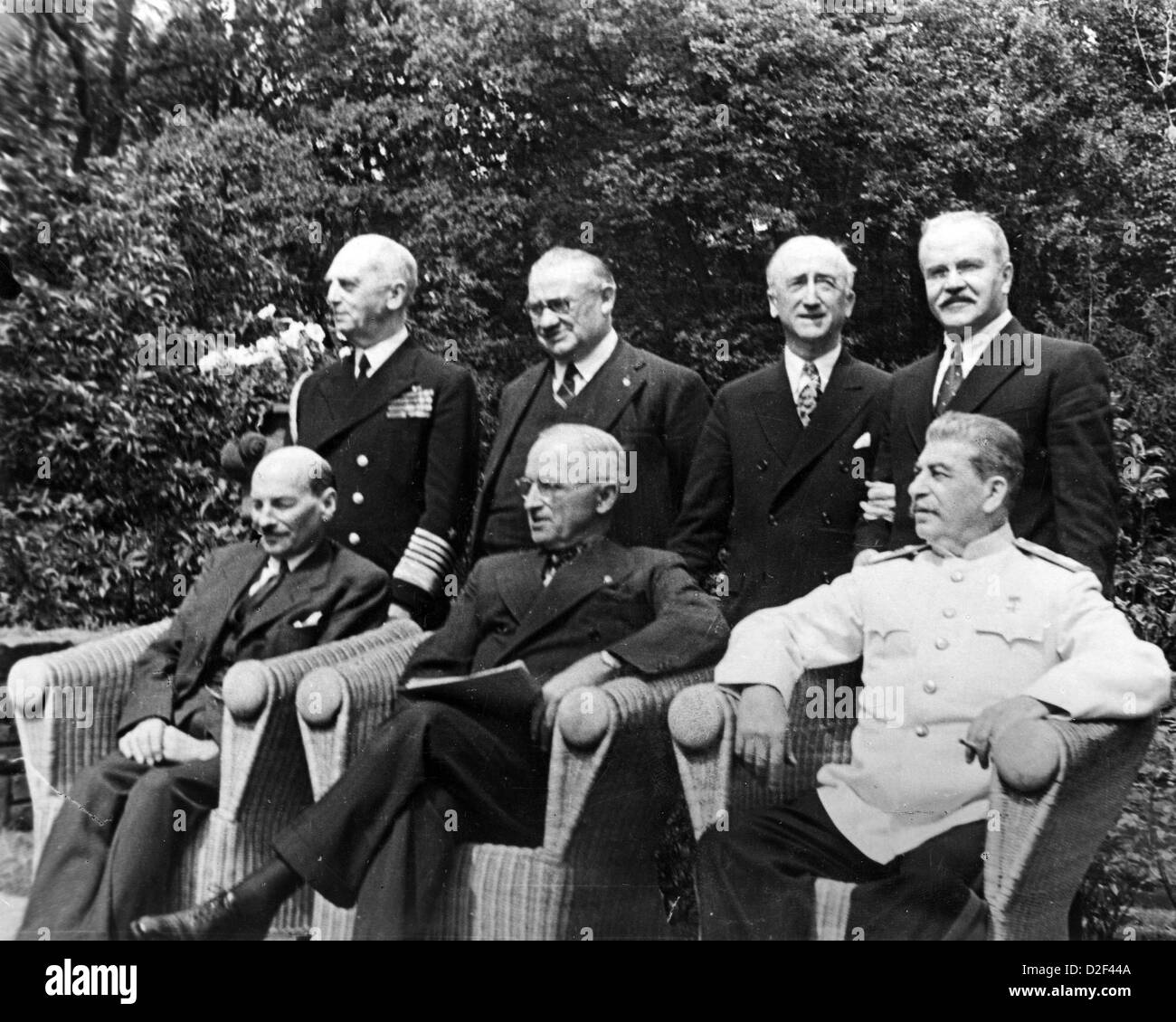 POTSDAM CONFERENCE July-August 1945. Sitting from left: Clement Attlee, Harry Truman, Joseph Stalin. See Description - Stock Image