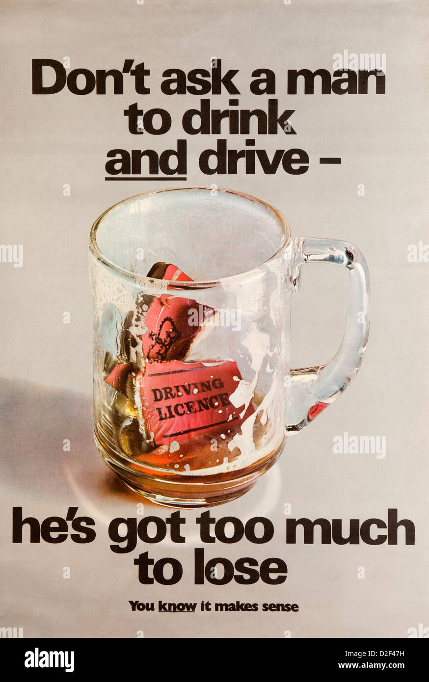 Road Safety, 1960s, ROSPA anti drunk driving poster, dont ask a man to drink and drive Stock Photo