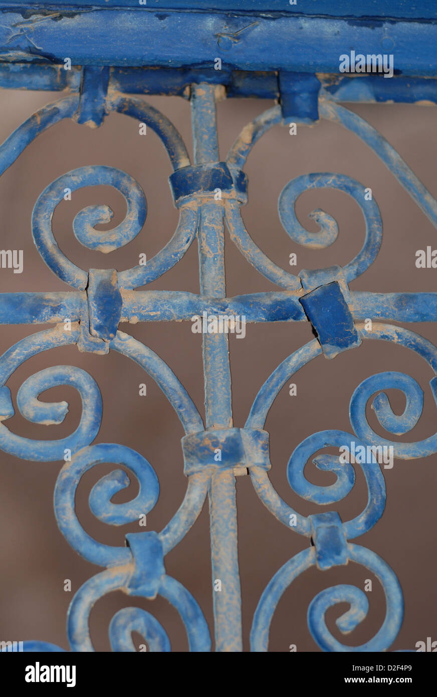 close up of handmade iron work window grill in a kasbah near ait ben haddou - Stock Image