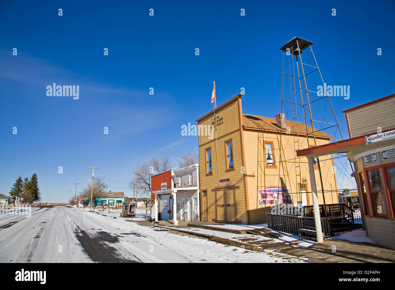 The main street in the ghost town of Shaniko, Oregon - Stock Image
