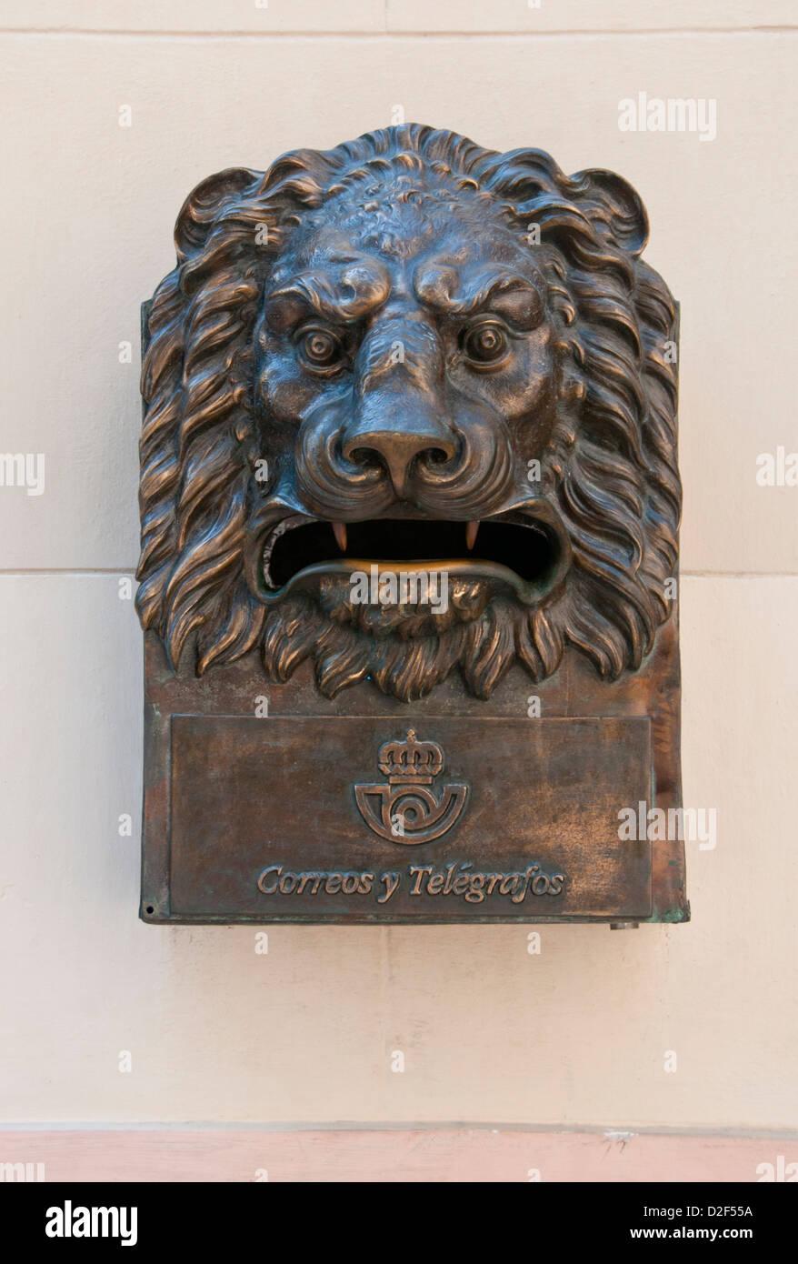 Old Lions Head Postbox, Plaza San Francisco, Habana Vieja, Havana, Cuba - Stock Image