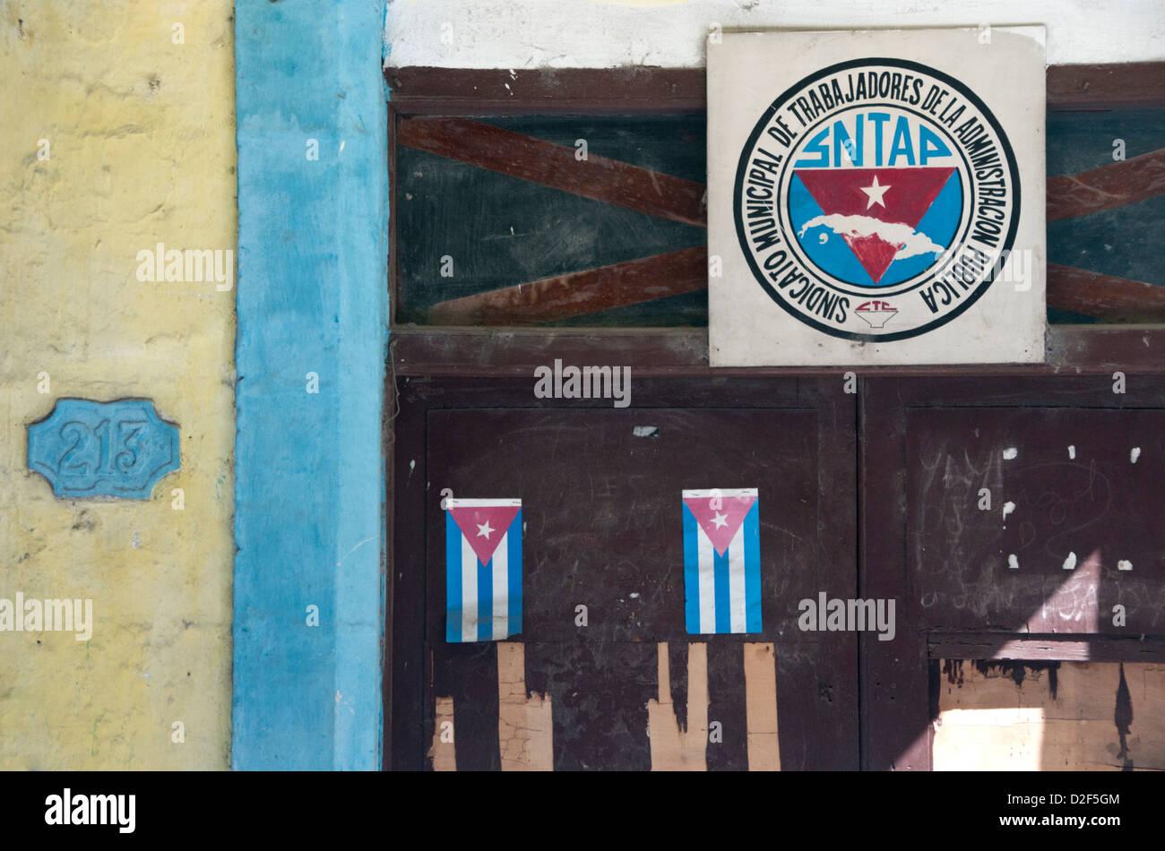 Backstreet Detail of Faded Architecture, Calle Habana, Habana Vieja, Havana, Cuba - Stock Image