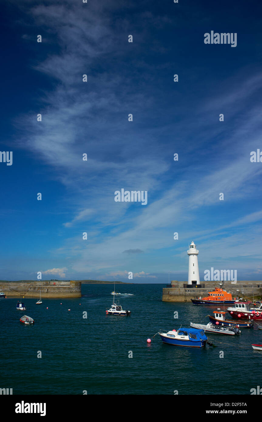 Donaghadee harbour and lighthouse County Down Northern Ireland - Stock Image