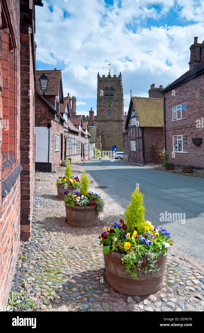 Spring in the Village of Great Budworth, Great Budworth, Cheshire, England, UK - Stock Image