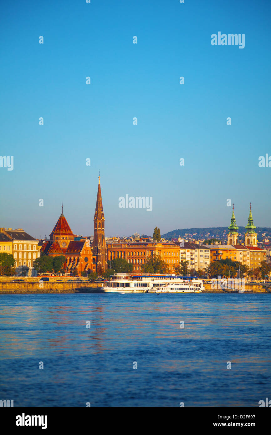 Old Budapest overview as seen from Danube river bank - Stock Image