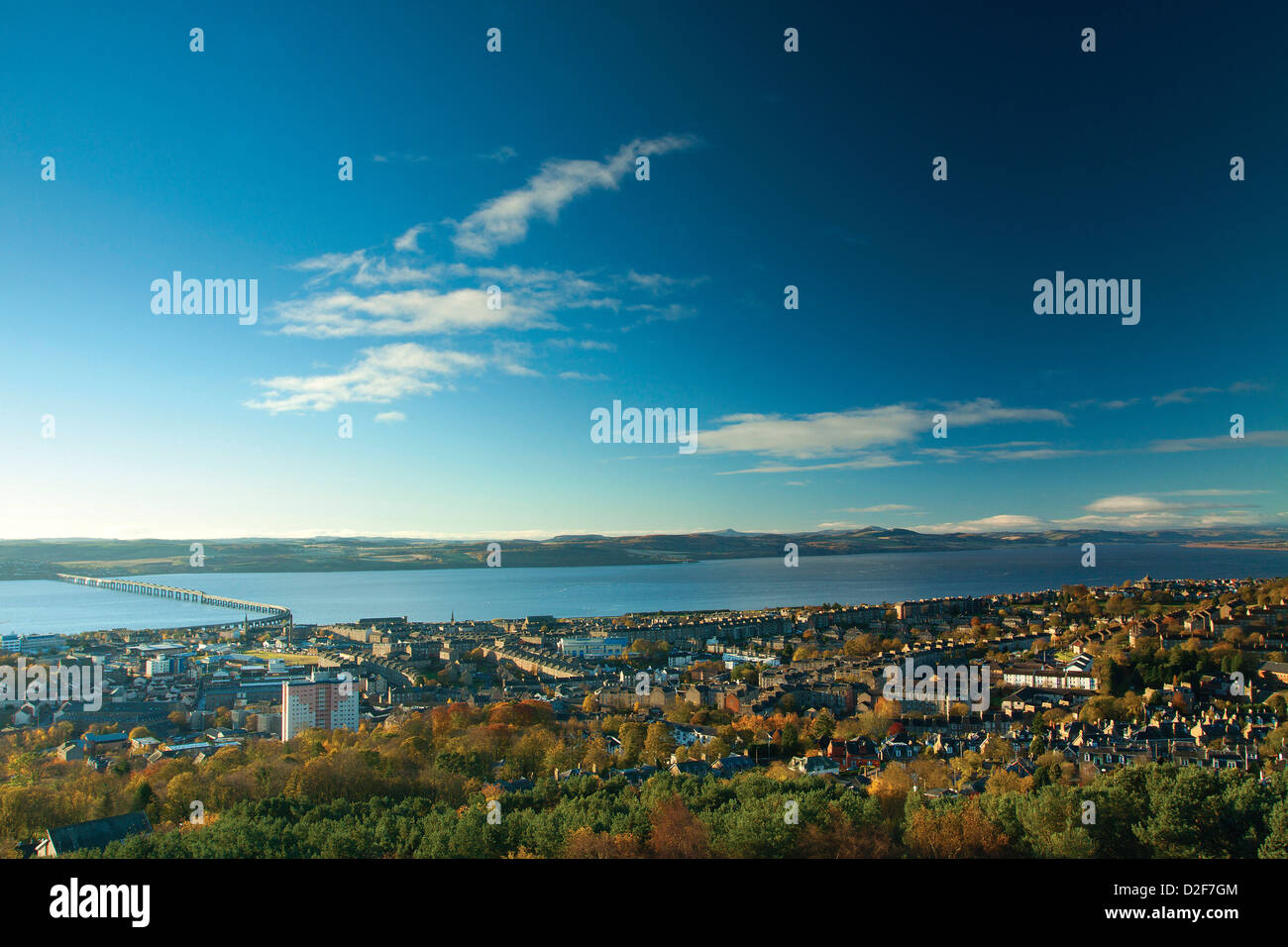 Dundee and the River Tay from Dundee Law, Tayside - Stock Image
