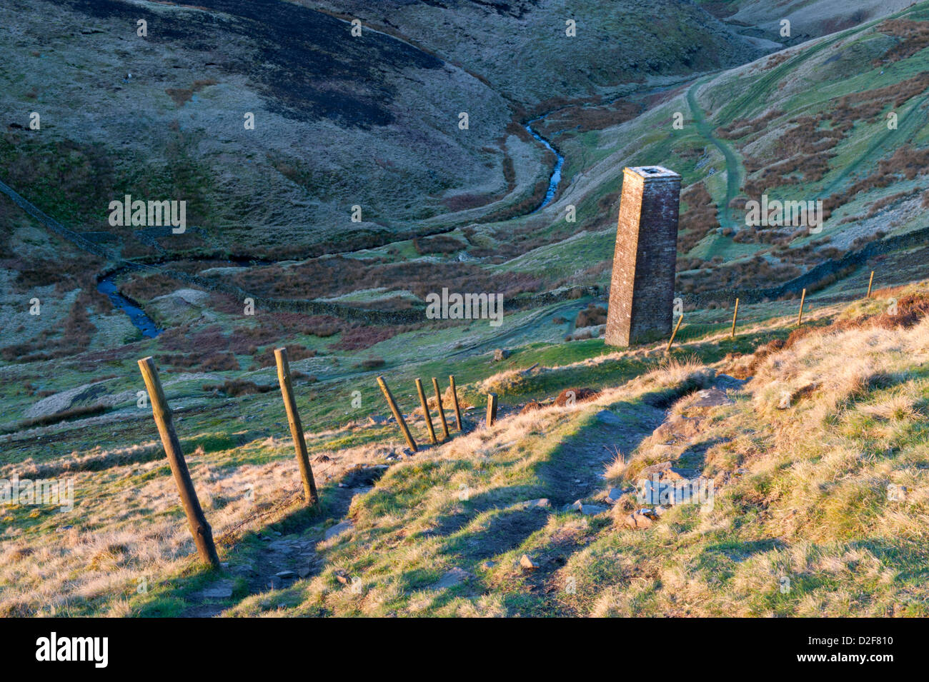 Dane Bower Colliery Chimney and River Dane, Axe Edge Moor, Cheshire & Derbyshire Border, Peak District, England - Stock Image