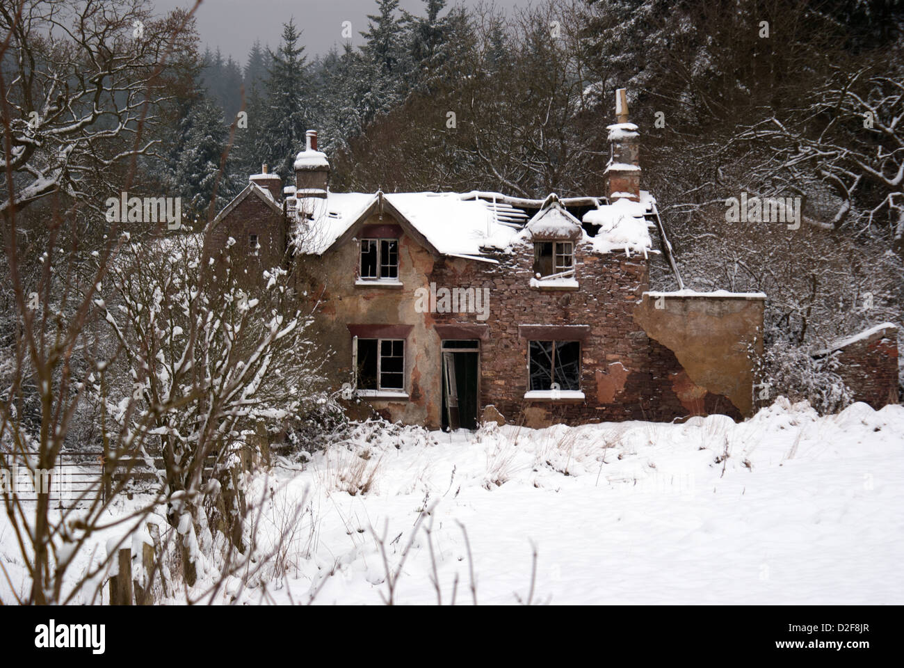 Runied cottage silhouetted in the snow at Blaize Bailey in the Forest of Dean, Gloucestershire, UK - Stock Image
