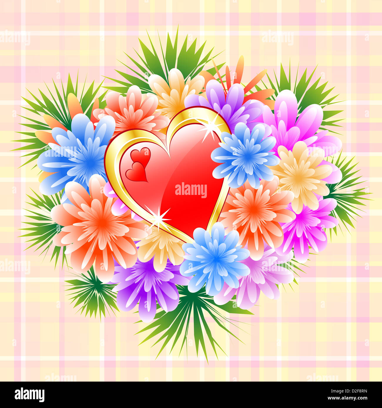 Flower bouquet and red love heart on a check background. Ideal Stock ...