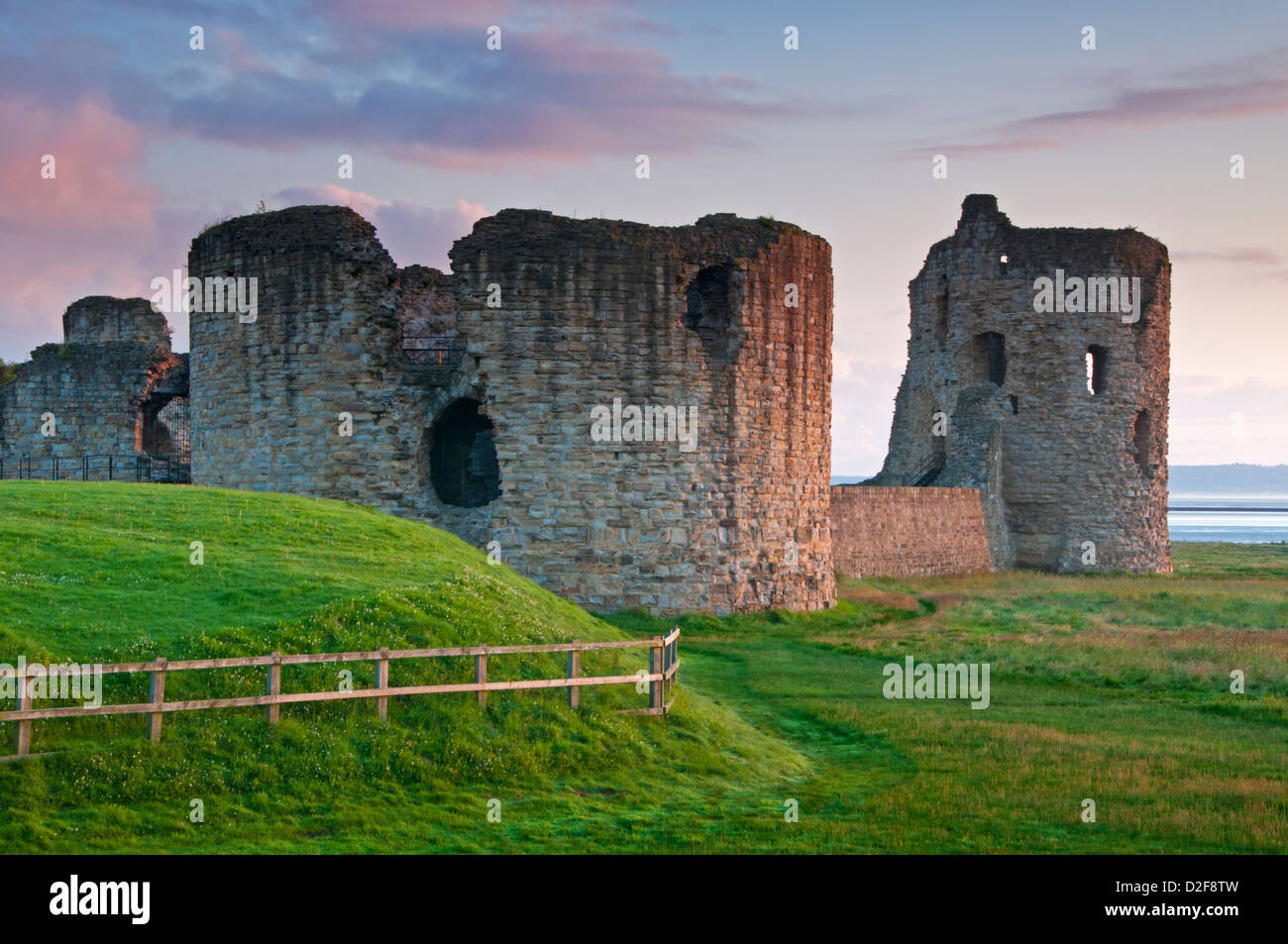 Dawn at Flint Castle, Flint, Flintshire, North Wales, UK - Stock Image