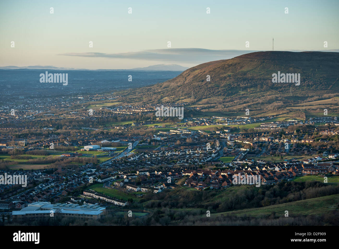 West Belfast viewed from Cave Hill - Stock Image