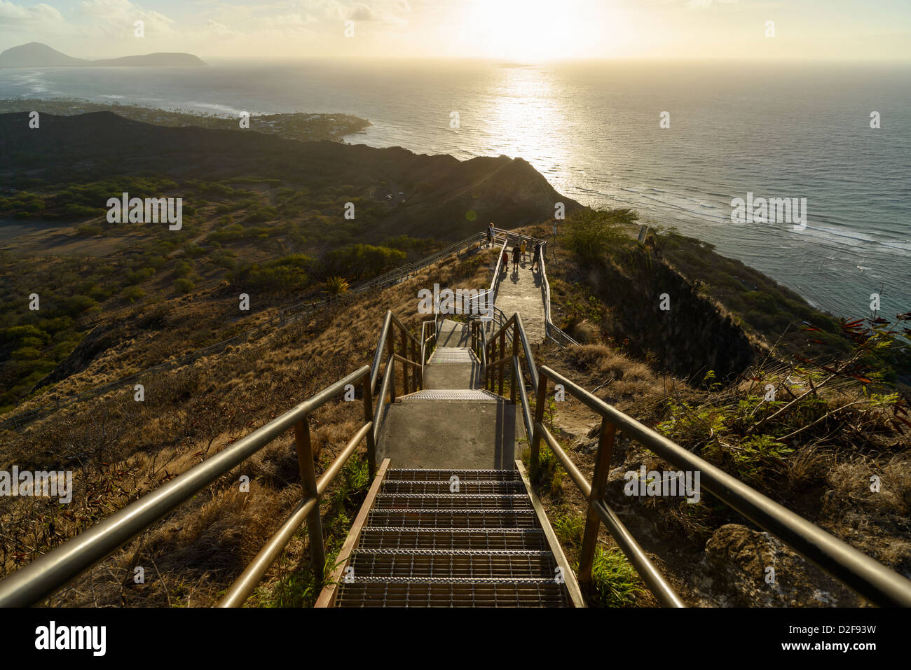 View from top of Diamond Head Crater at dawn, Oahu, Hawaii, USA - Stock Image