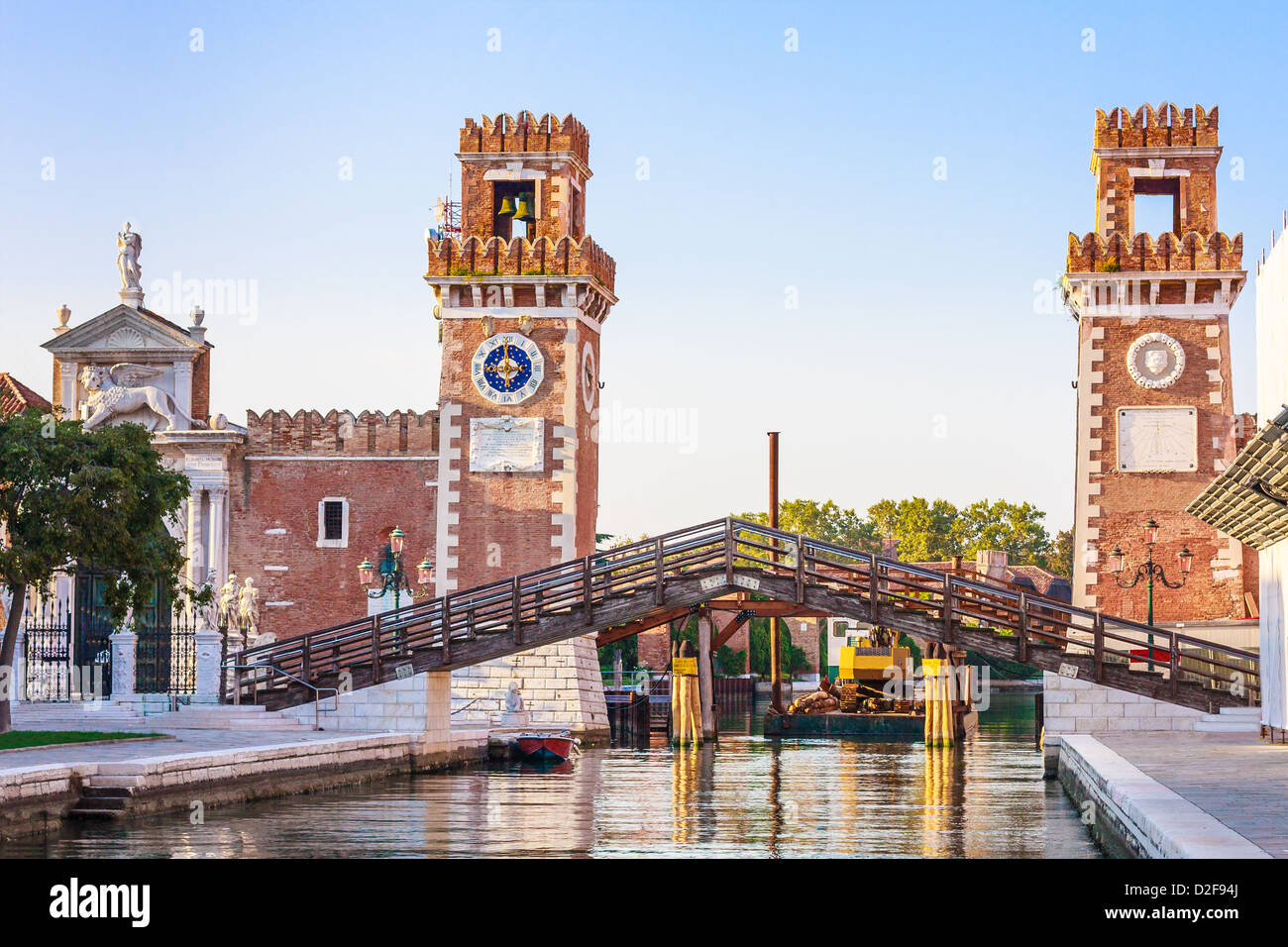 Venice, Arsenale historic shipyard, Gate and Canal View - Stock Image