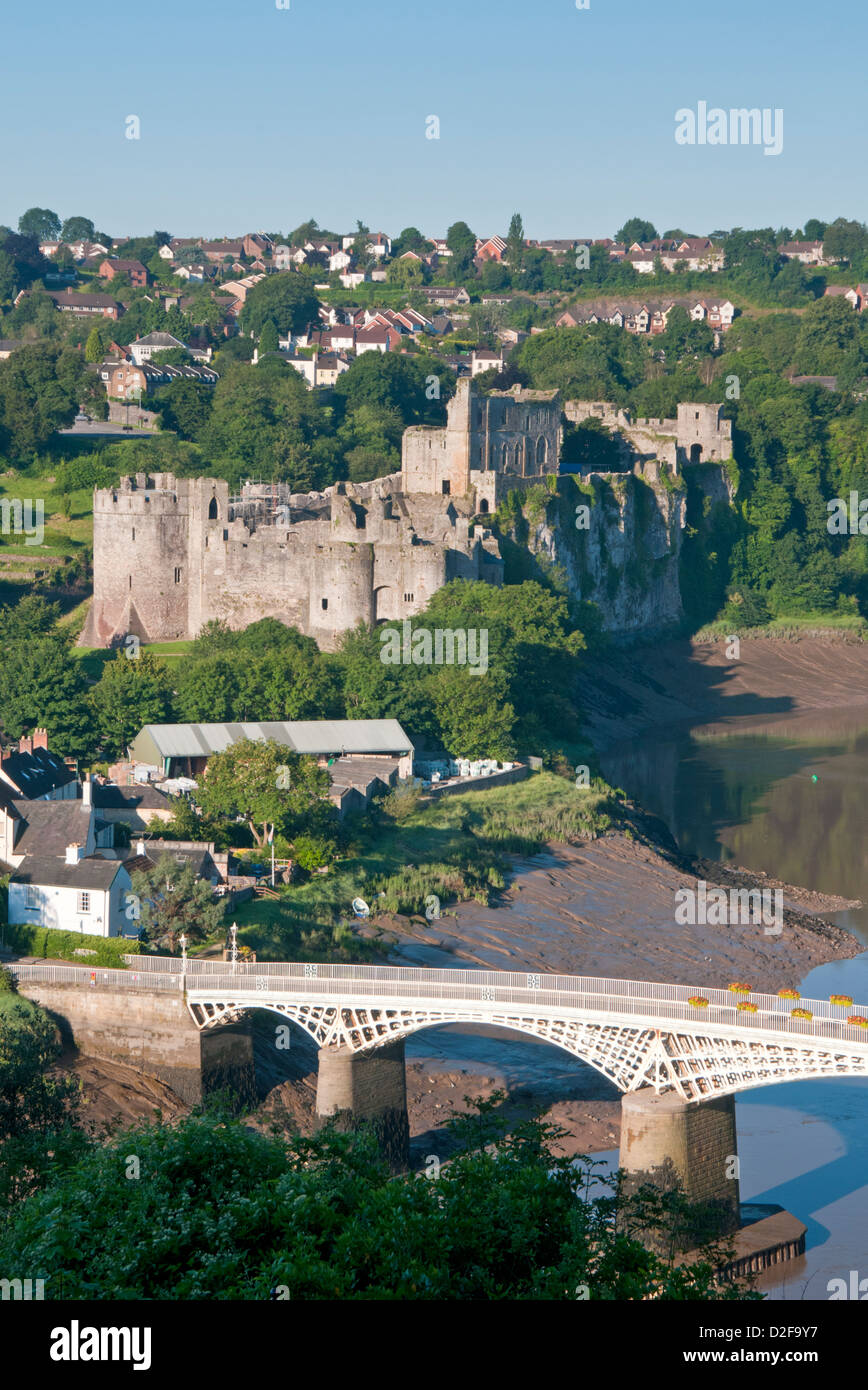 Chepstow Castle, The River Wye and Wye Bridge, Chepstow, Monmouthshire, South Wales, UK - Stock Image