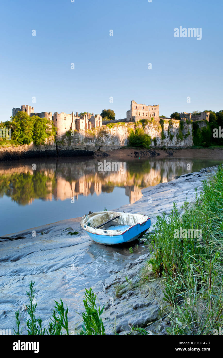 Chepstow Castle and the River Wye, Chepstow, Monmouthshire, South Wales, UK - Stock Image
