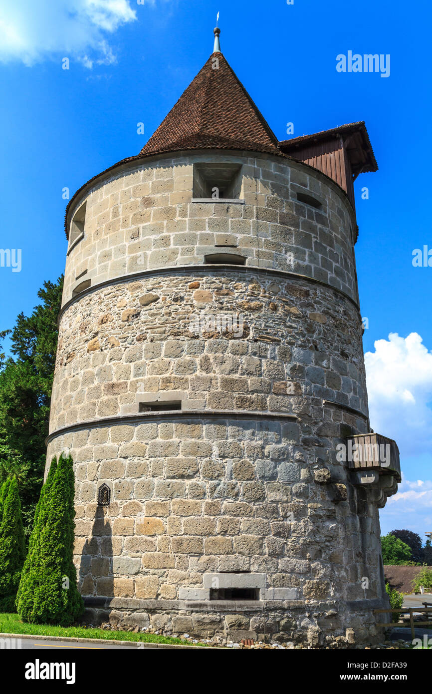 Tower of city of Zug fortifications, Switzerland - Stock Image