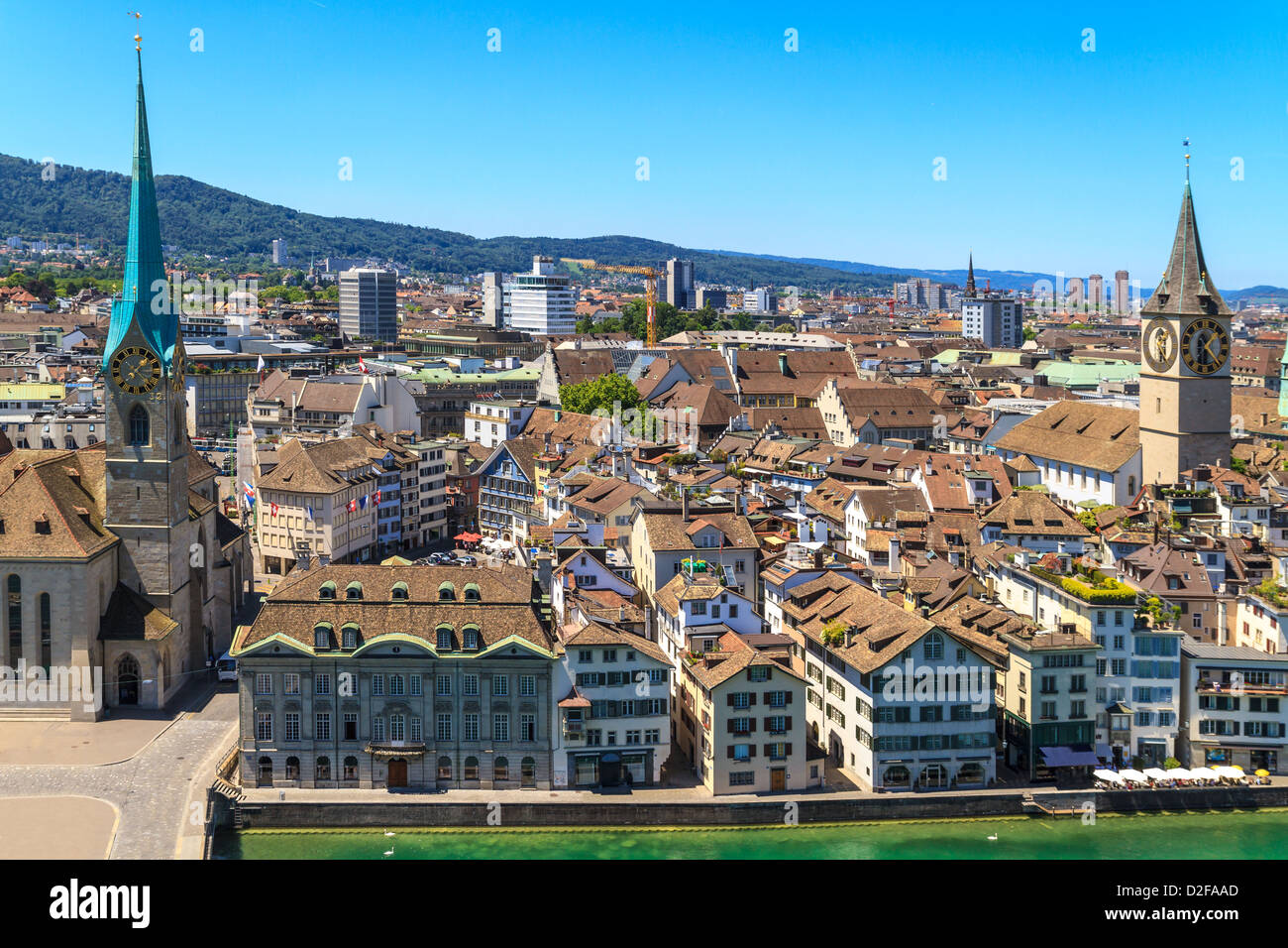 Zurich Cityscape (aerial view from elevated position) - Stock Image