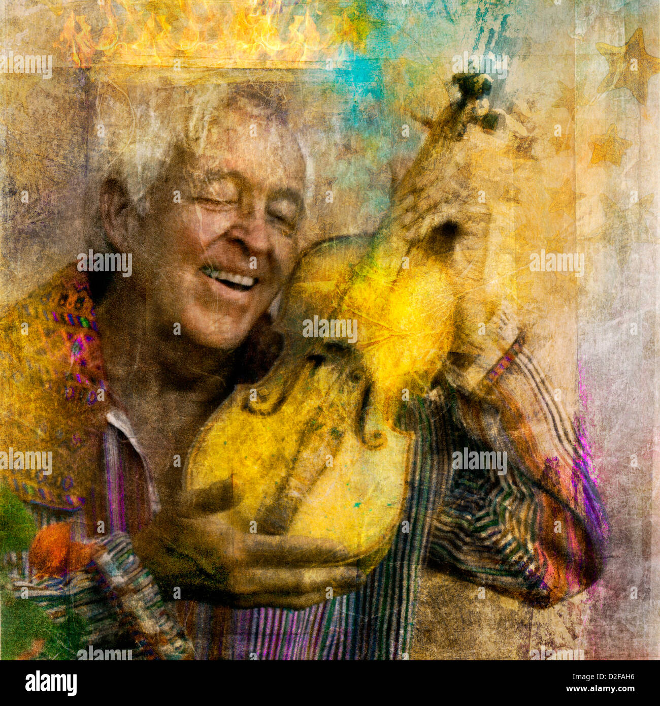 Joyful elder man with his yellow violin and an abstract crown of light. - Stock Image