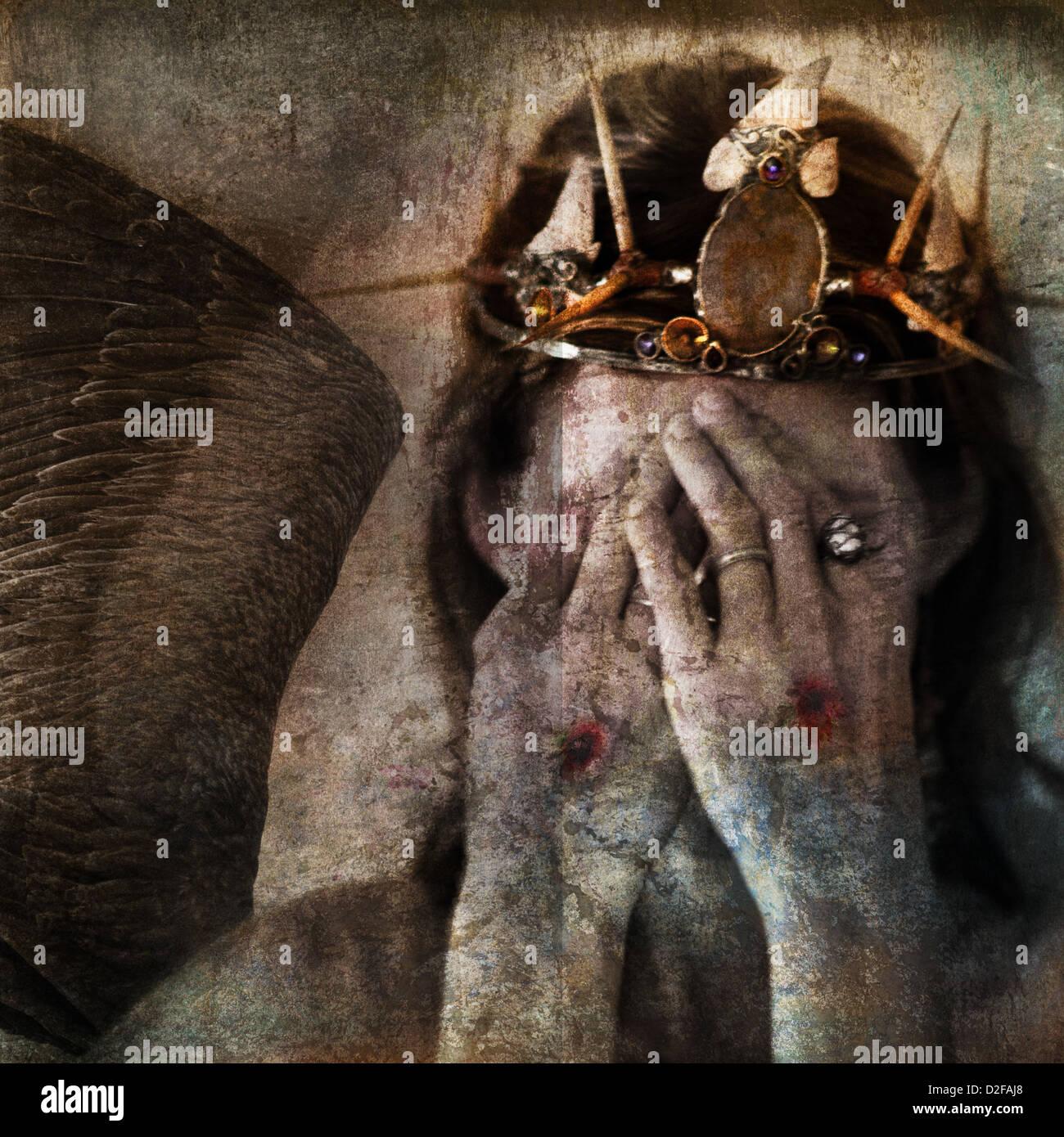 Shamanic angel martyr hiding face with stigmata on the hands. Photo base illustration. - Stock Image