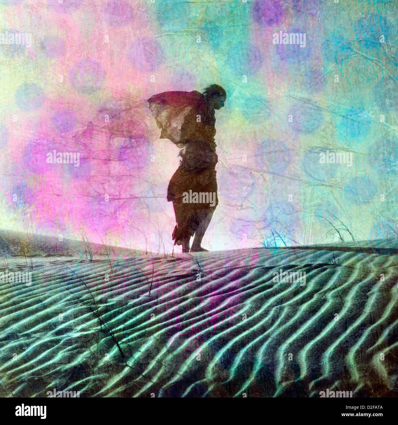 Abstract female figure in desert dune. Photo based illustration. - Stock Image