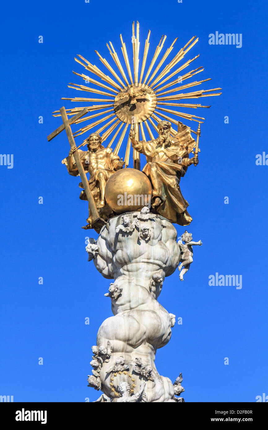 Famous Baroque Trinity / Plague Column on Linz main square (Hauptplatz), Austria - Stock Image