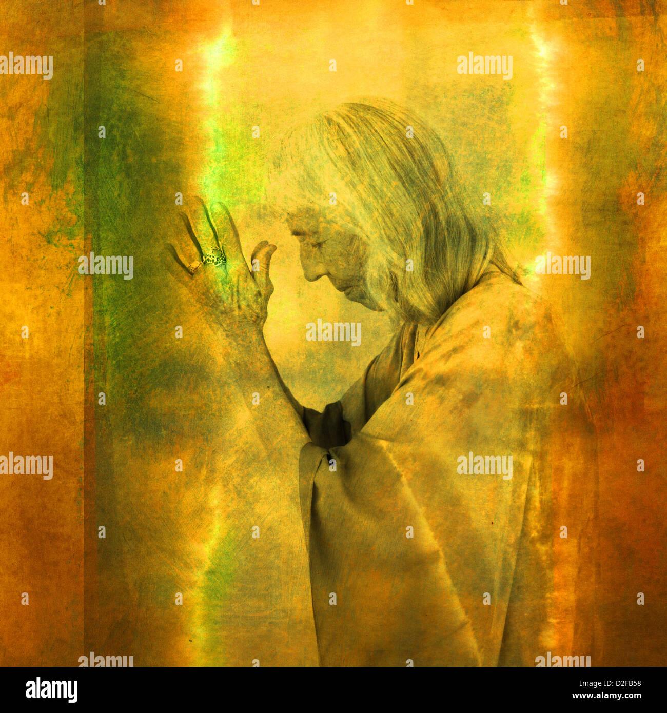 Wise woman in illuminated prayer. Photo based illustration. - Stock Image