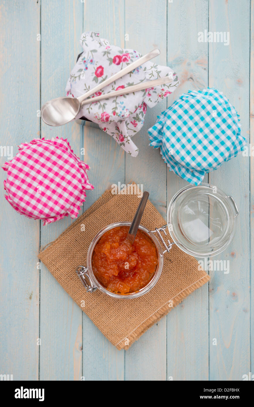Home made jams, marmalades, jellies and preserves. - Stock Image