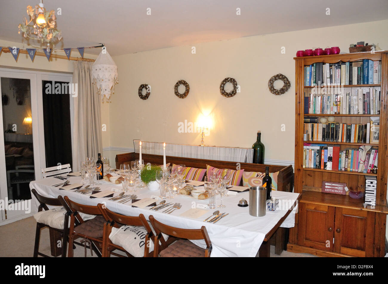 Dining room at Secret Supper Society dinner, Somerton, Oxfordshire, England, United Kingdom - Stock Image
